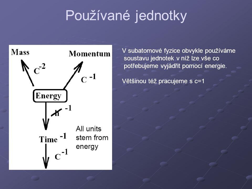 Používané jednotky V subatomové fyzice obvykle používáme