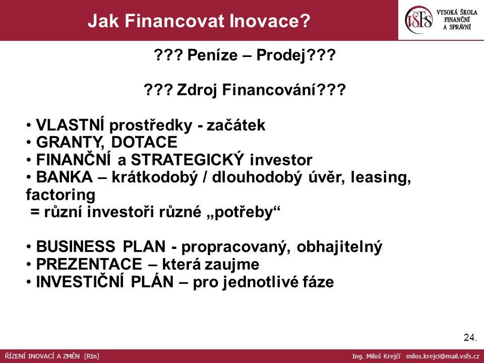 Jak Financovat Inovace