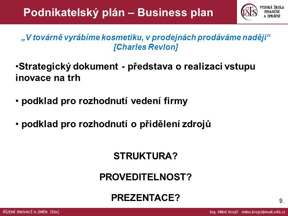Podnikatelský plán – Business plan