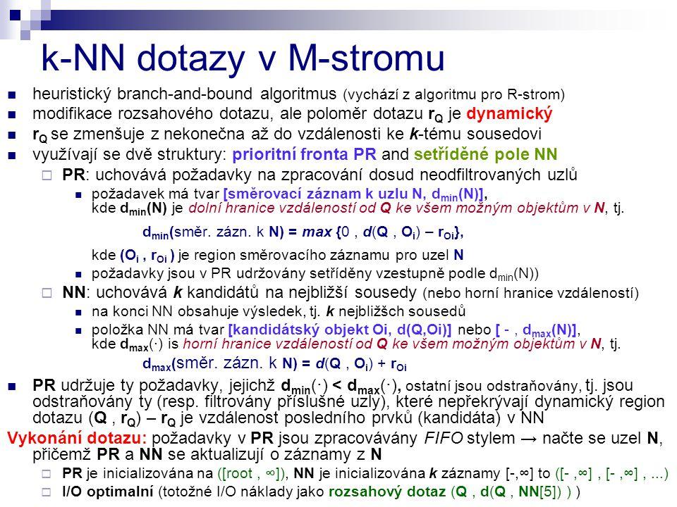 k-NN dotazy v M-stromu heuristický branch-and-bound algoritmus (vychází z algoritmu pro R-strom)
