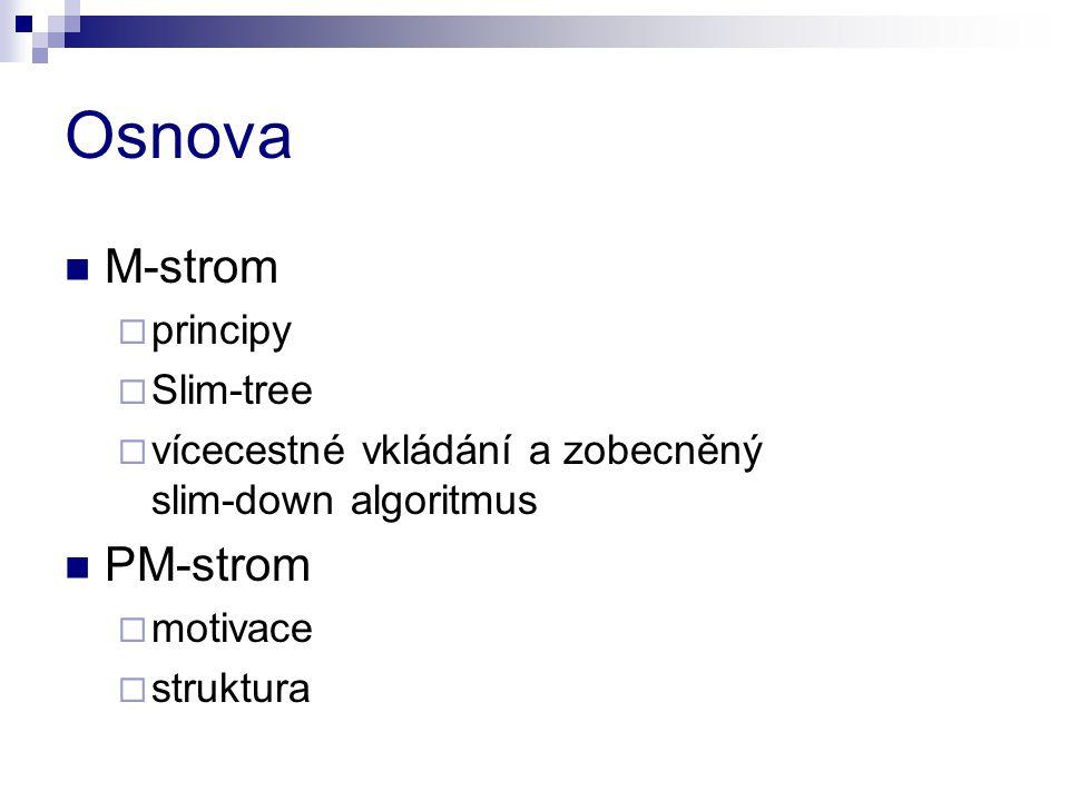 Osnova M-strom PM-strom principy Slim-tree