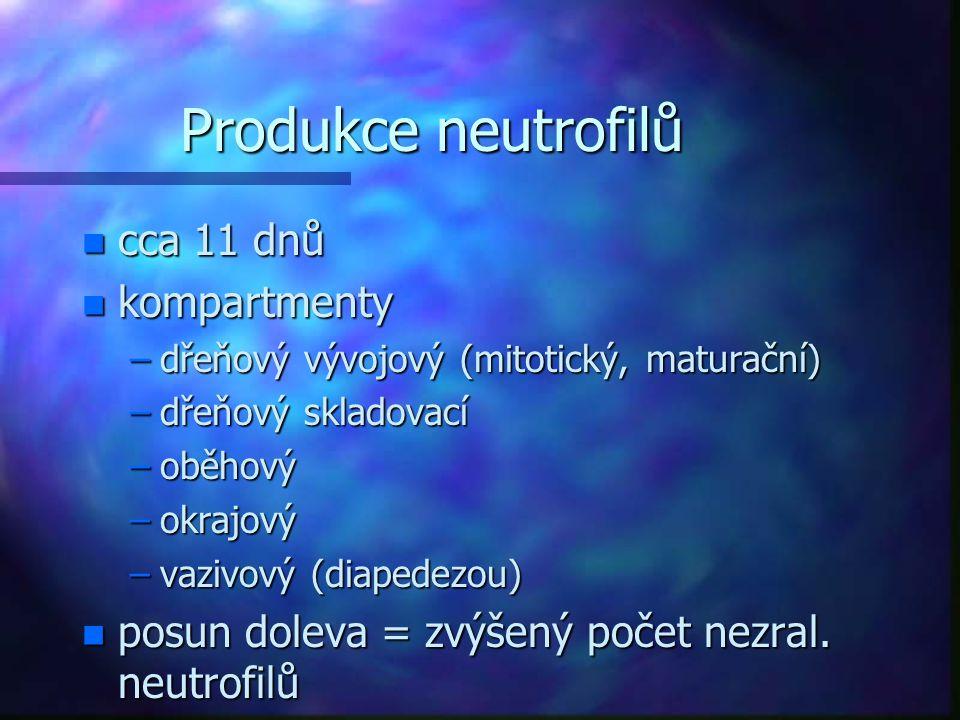 Produkce neutrofilů cca 11 dnů kompartmenty