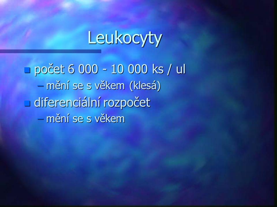 Leukocyty počet 6 000 - 10 000 ks / ul diferenciální rozpočet