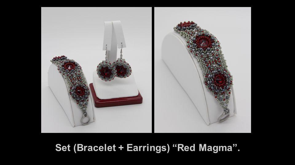 Set (Bracelet + Earrings) Red Magma .
