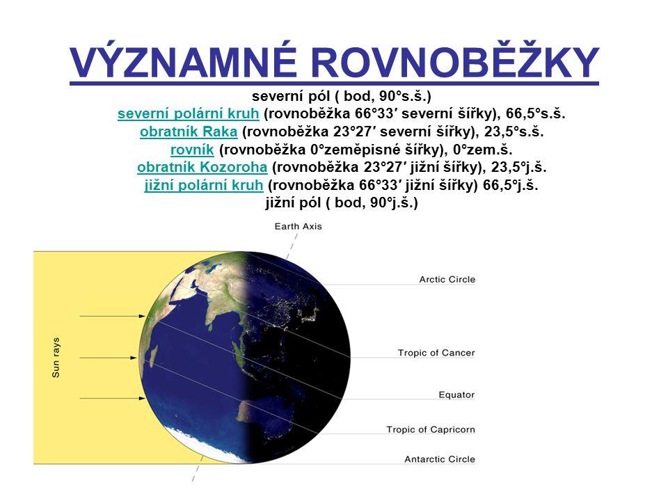 VÝZNAMNÉ ROVNOBĚŽKY severní pól ( bod, 90°s.š.)