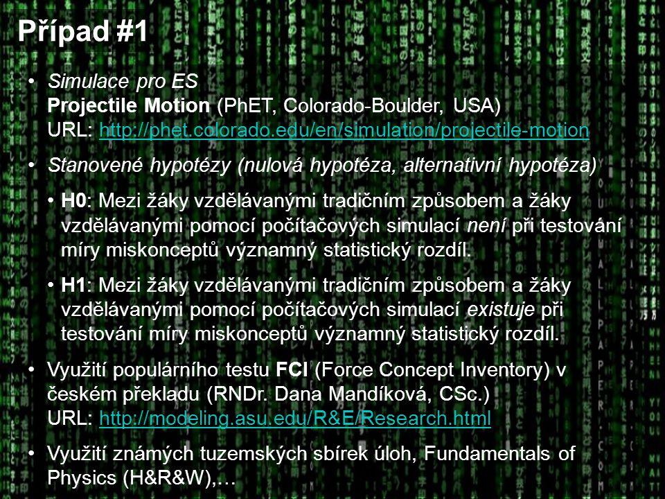 Případ #1 Simulace pro ES Projectile Motion (PhET, Colorado-Boulder, USA) URL: http://phet.colorado.edu/en/simulation/projectile-motion.