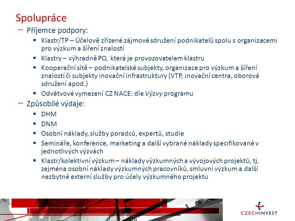 Spolupráce Příjemce podpory: Způsobilé výdaje: