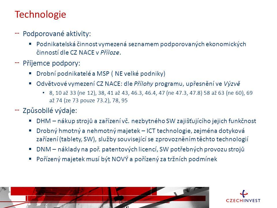 Technologie Podporované aktivity: Příjemce podpory: Způsobilé výdaje: