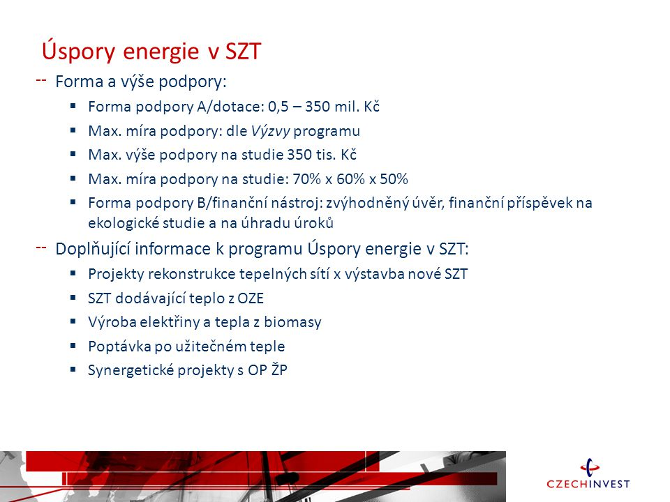 Úspory energie v SZT Forma a výše podpory: