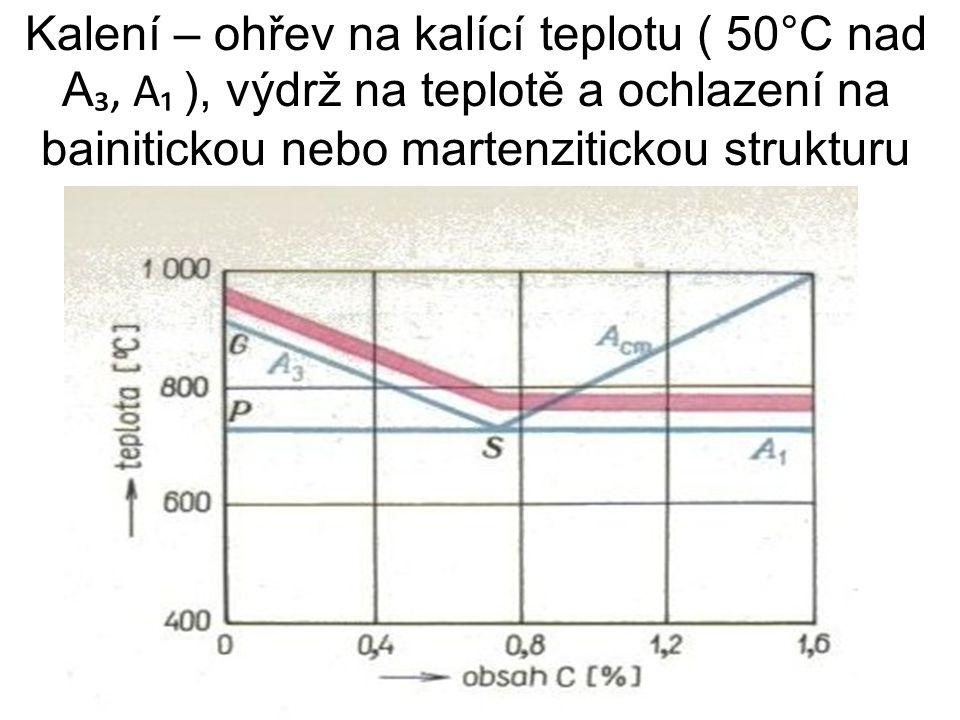 Kalení – ohřev na kalící teplotu ( 50°C nad A₃, A₁ ), výdrž na teplotě a ochlazení na bainitickou nebo martenzitickou strukturu