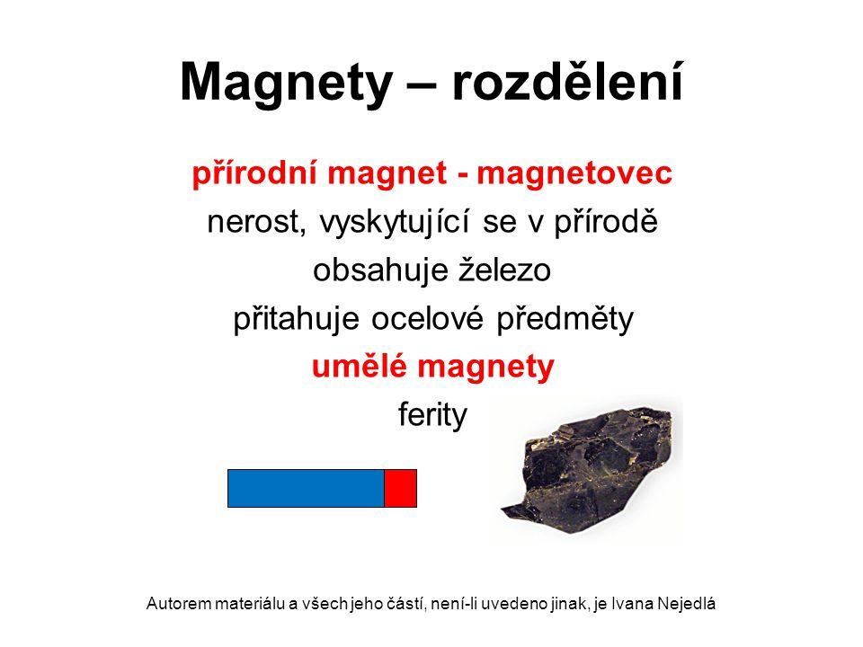 Magnety – rozdělení přírodní magnet - magnetovec nerost, vyskytující se v přírodě obsahuje železo přitahuje ocelové předměty umělé magnety ferity