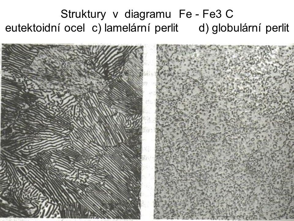 Struktury v diagramu Fe - Fe3 C eutektoidní ocel c) lamelární perlit d) globulární perlit