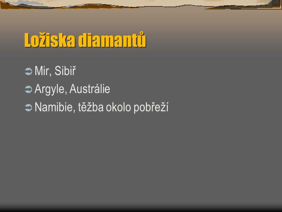 Ložiska diamantů Mir, Sibiř Argyle, Austrálie