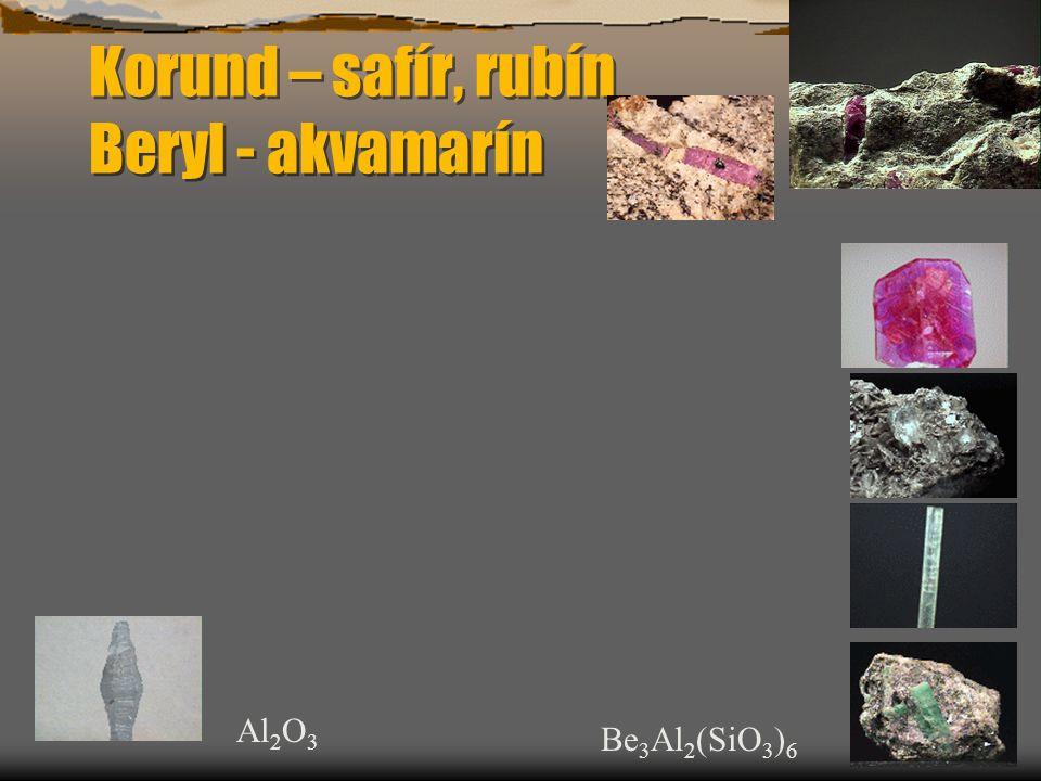 Korund – safír, rubín Beryl - akvamarín