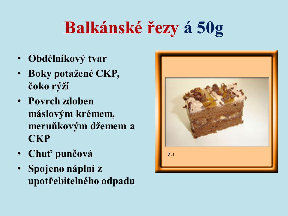 Balkánské řezy á 50g Obdélníkový tvar Boky potažené CKP, čoko rýží