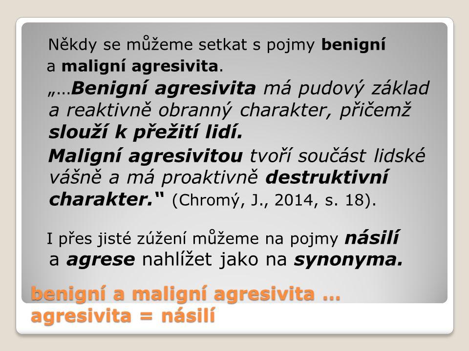 benigní a maligní agresivita … agresivita = násilí
