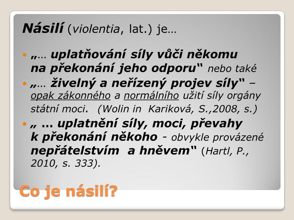 Co je násilí Násilí (violentia, lat.) je…