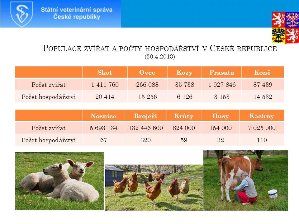 Populace zvířat a počty hospodářství v České republice (30.4.2013)