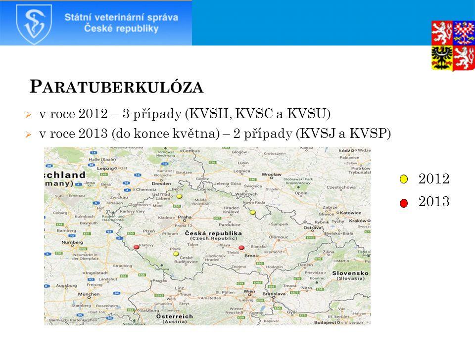 Paratuberkulóza 2012 2013 v roce 2012 – 3 případy (KVSH, KVSC a KVSU)
