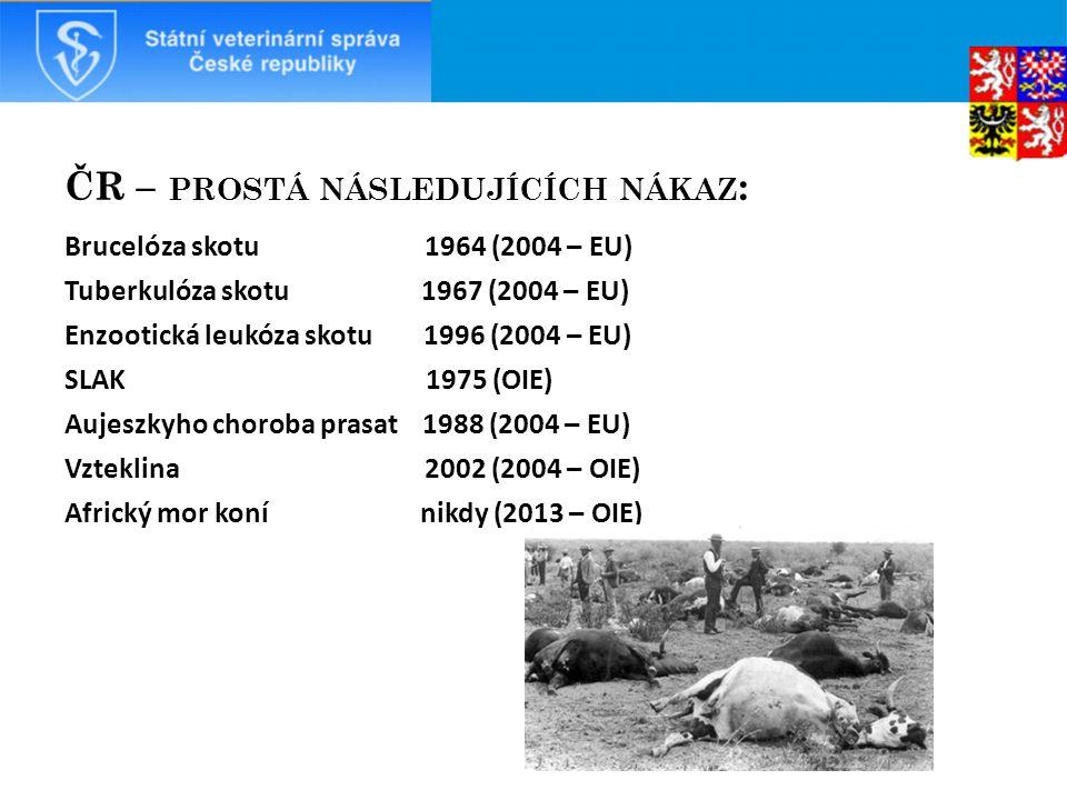 ČR – prostá následujících nákaz: