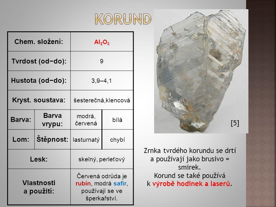 korund Chem. složení: Tvrdost (od−do): Hustota (od−do):