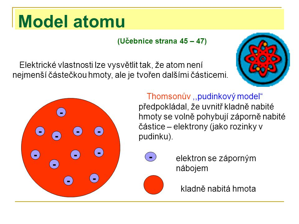 Model atomu (Učebnice strana 45 – 47)