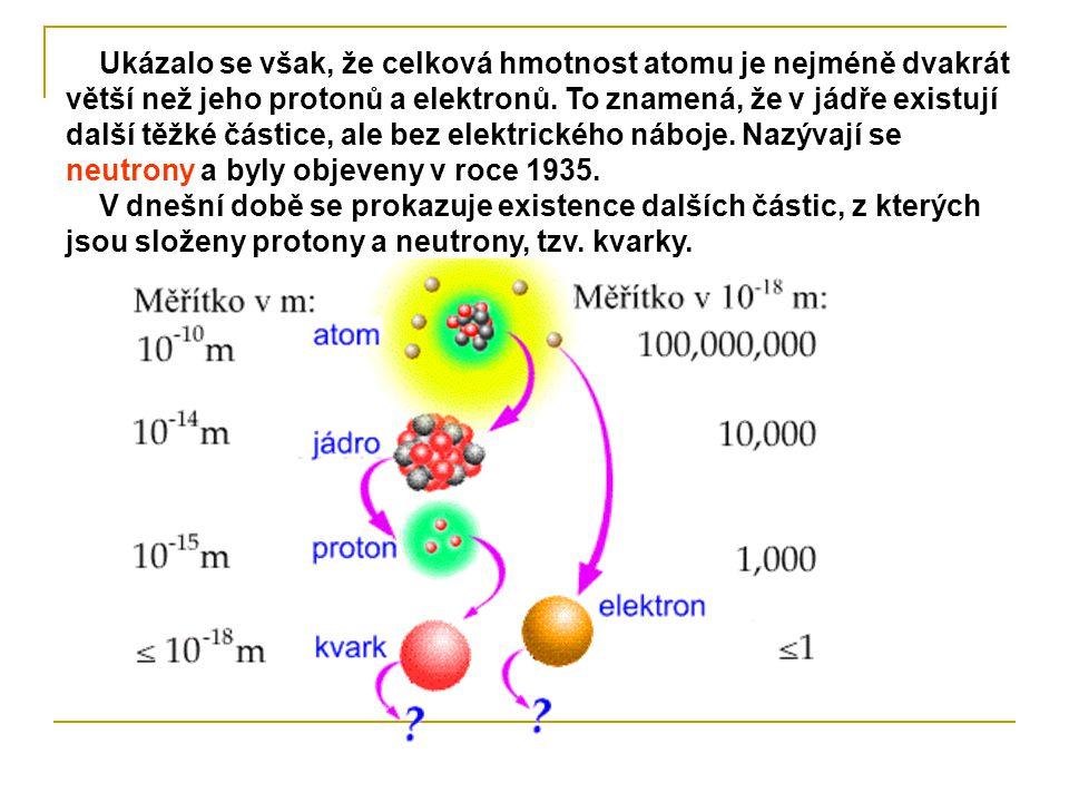Ukázalo se však, že celková hmotnost atomu je nejméně dvakrát větší než jeho protonů a elektronů. To znamená, že v jádře existují další těžké částice, ale bez elektrického náboje. Nazývají se neutrony a byly objeveny v roce 1935.