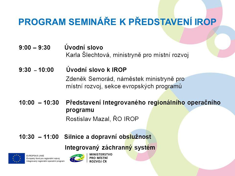 Program semináře k představení IROP
