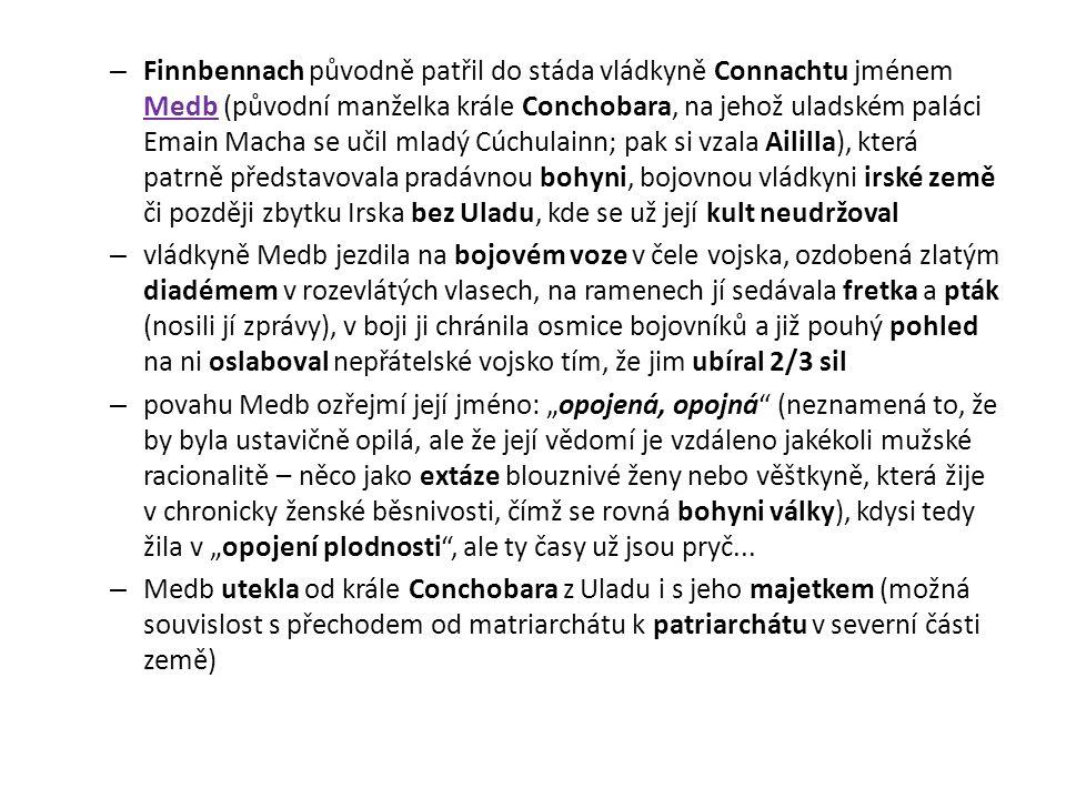 Finnbennach původně patřil do stáda vládkyně Connachtu jménem Medb (původní manželka krále Conchobara, na jehož uladském paláci Emain Macha se učil mladý Cúchulainn; pak si vzala Aililla), která patrně představovala pradávnou bohyni, bojovnou vládkyni irské země či později zbytku Irska bez Uladu, kde se už její kult neudržoval