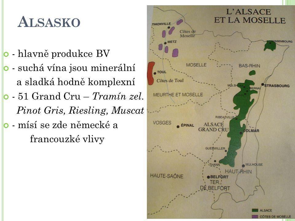 Alsasko - hlavně produkce BV - suchá vína jsou minerální