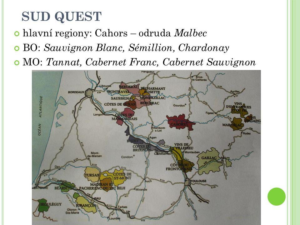 SUD QUEST hlavní regiony: Cahors – odruda Malbec