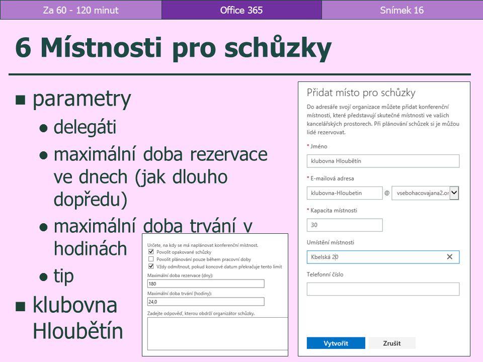 6 Místnosti pro schůzky parametry klubovna Hloubětín delegáti