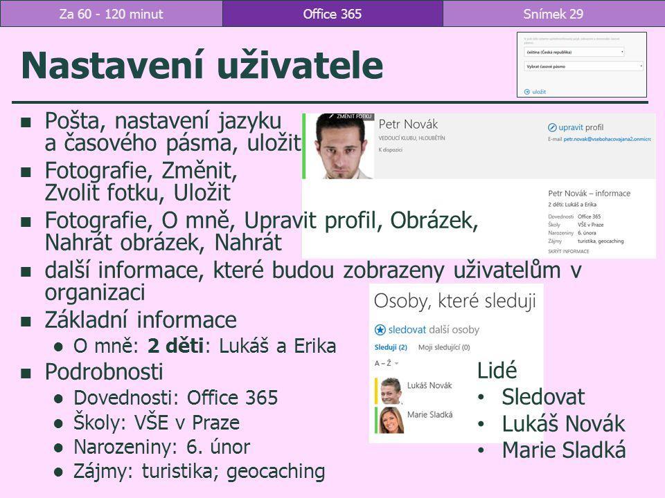 Nastavení uživatele Pošta, nastavení jazyku a časového pásma, uložit