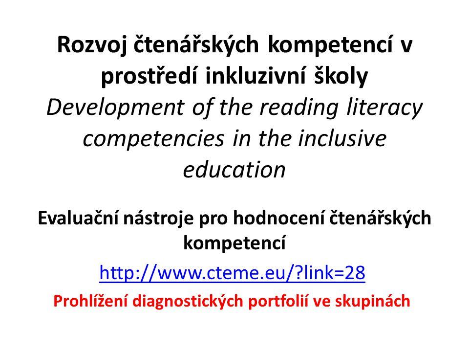 Evaluační nástroje pro hodnocení čtenářských kompetencí