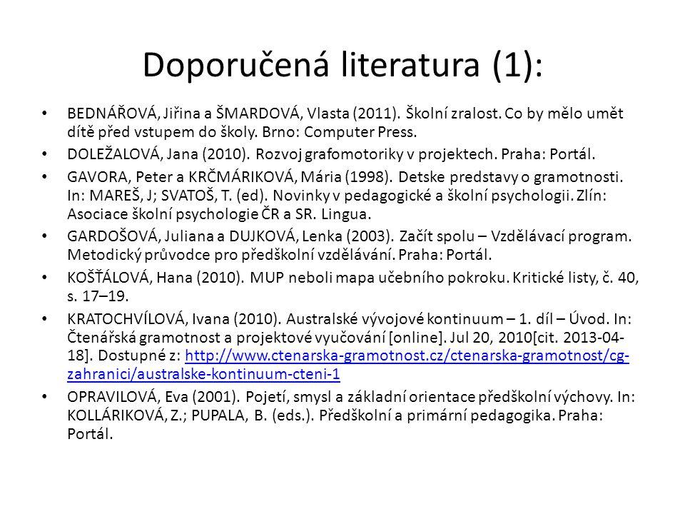 Doporučená literatura (1):