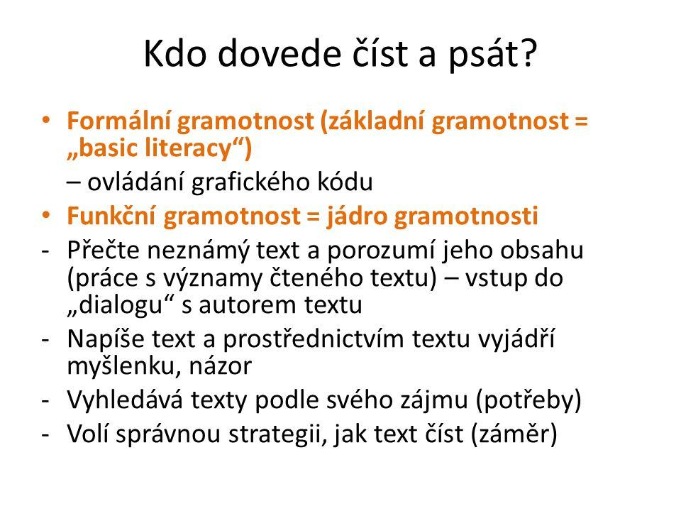 """Kdo dovede číst a psát Formální gramotnost (základní gramotnost = """"basic literacy ) – ovládání grafického kódu."""