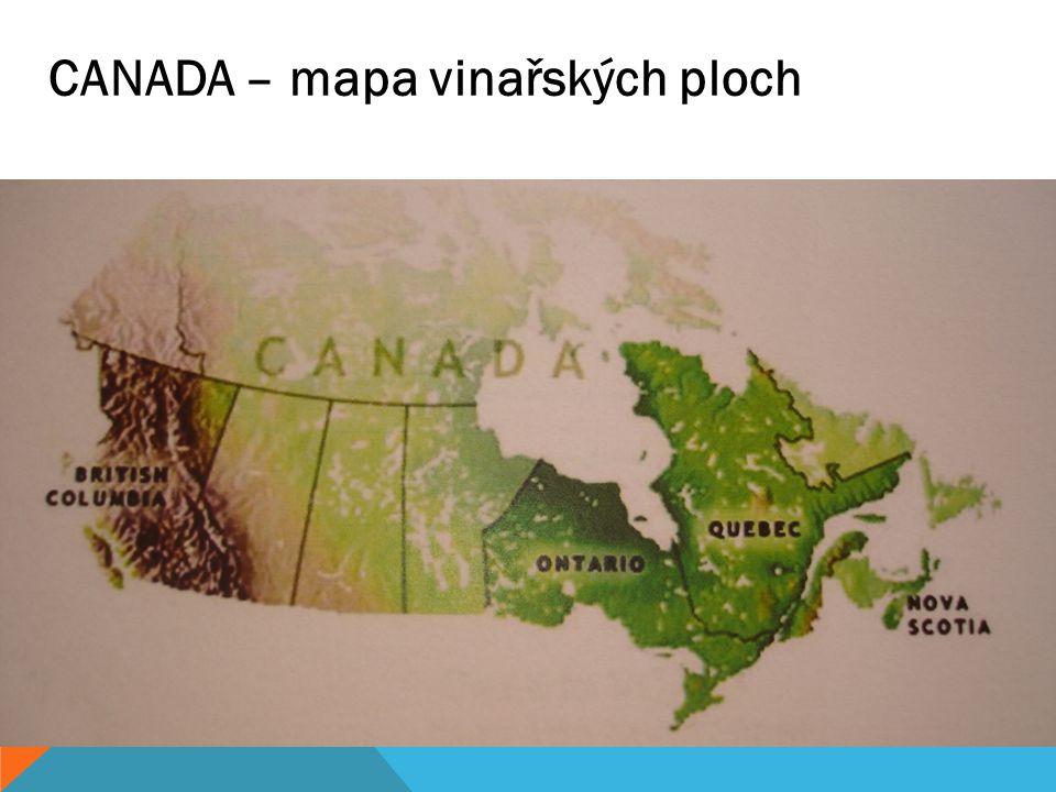 CANADA – mapa vinařských ploch
