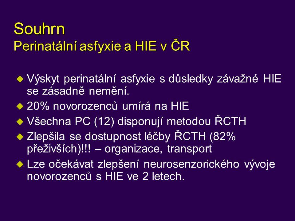 Souhrn Perinatální asfyxie a HIE v ČR