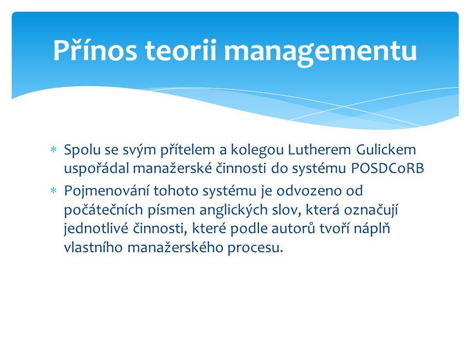Přínos teorii managementu
