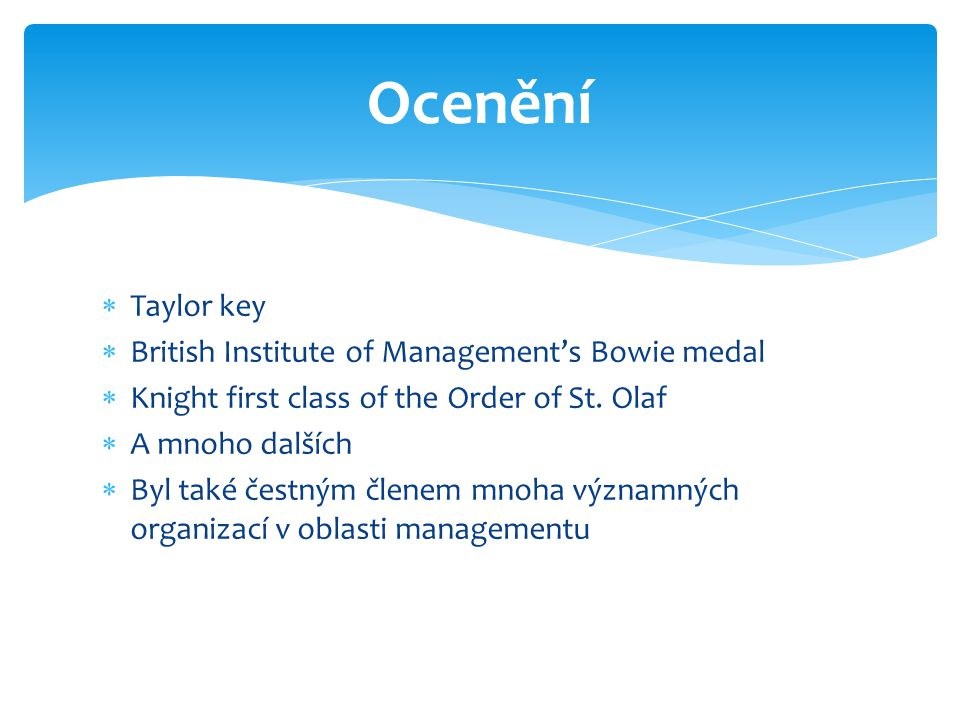 Ocenění Taylor key British Institute of Management's Bowie medal