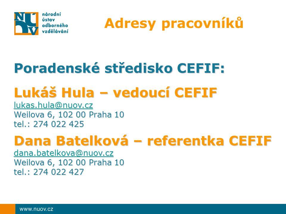 Adresy pracovníků Poradenské středisko CEFIF: