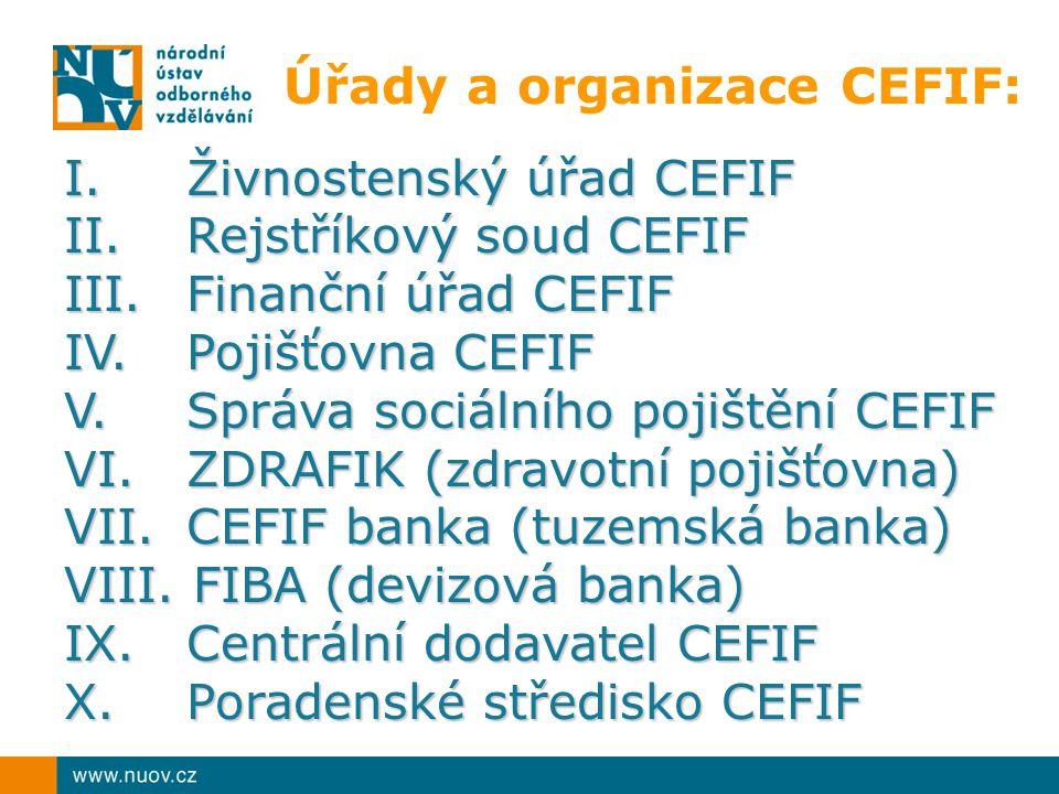 Úřady a organizace CEFIF:
