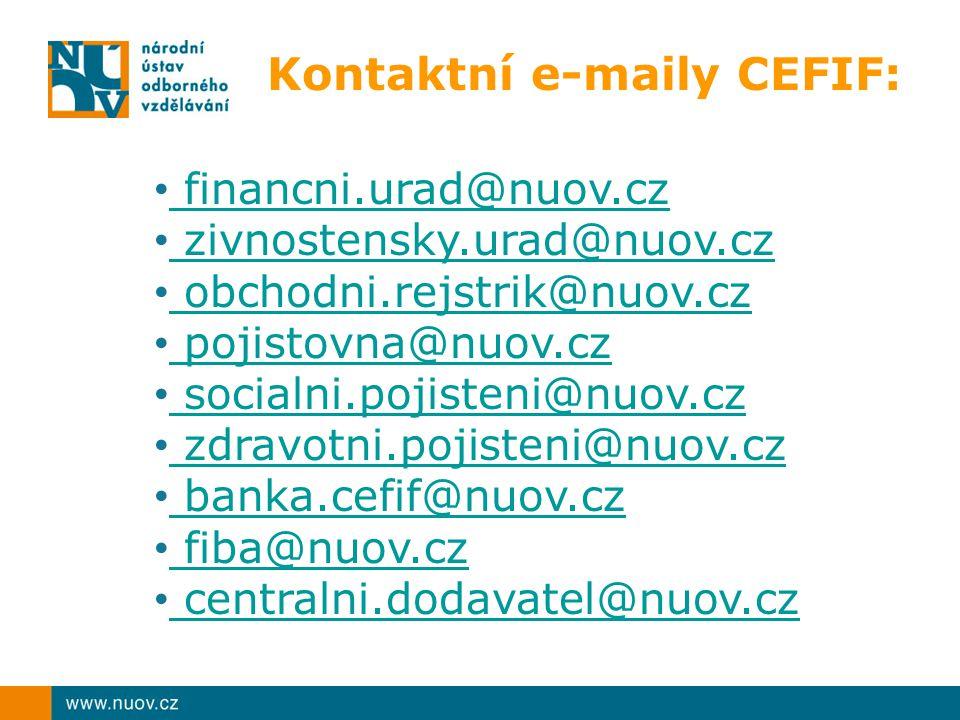 Kontaktní e-maily CEFIF: