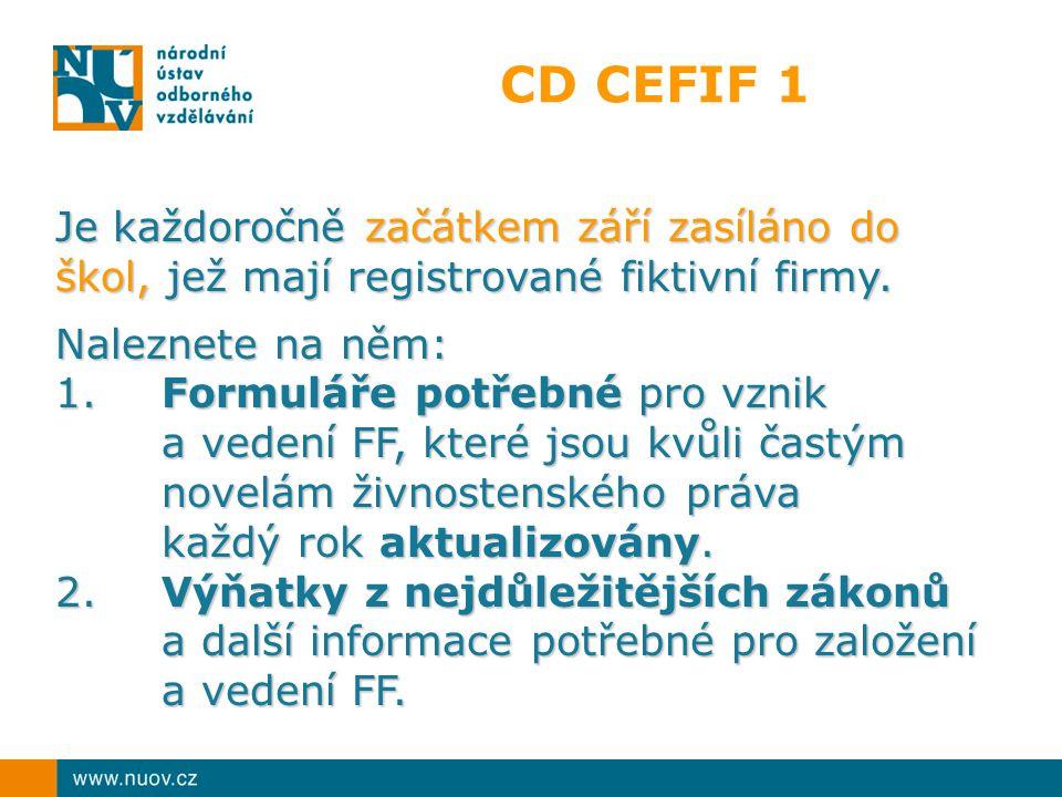 CD CEFIF 1 Je každoročně začátkem září zasíláno do škol, jež mají registrované fiktivní firmy. Naleznete na něm: