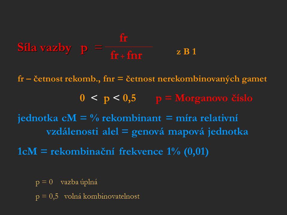 Síla vazby p = fr. z B 1. fr + fnr. fr – četnost rekomb., fnr = četnost nerekombinovaných gamet.