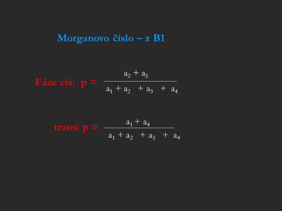 Morganovo číslo – z B1 Fáze cis: p = trans: p = a2 + a3