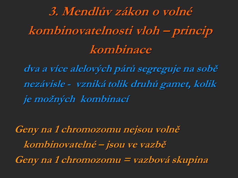 3. Mendlův zákon o volné kombinovatelnosti vloh – princip kombinace