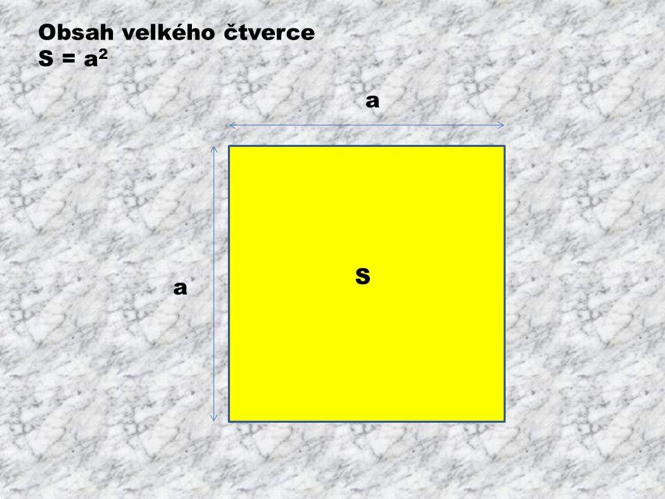 Obsah velkého čtverce S = a2 a S a