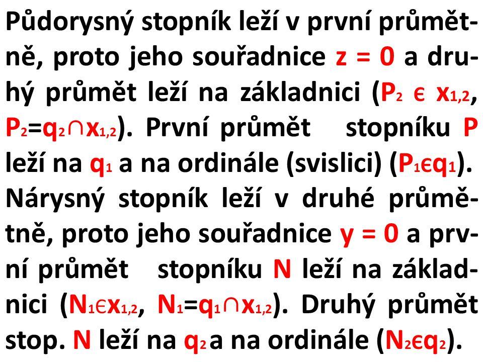 Půdorysný stopník leží v první průmět-ně, proto jeho souřadnice z = 0 a dru-hý průmět leží na základnici (P2 Є x1,2, P2=q2∩x1,2). První průmět stopníku P leží na q1 a na ordinále (svislici) (P1Єq1).