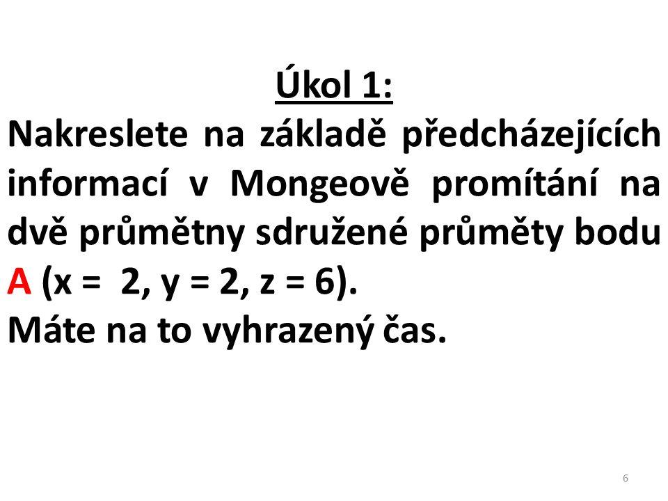 Úkol 1: Nakreslete na základě předcházejících informací v Mongeově promítání na dvě průmětny sdružené průměty bodu A (x = 2, y = 2, z = 6).